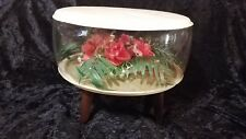 Retro Vintage Inflatable Terrarium Red Roses Foot Stool Ottoman