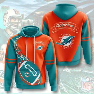 Miami Dolphins Men's Pullover Hoodies Hooded Sweatshirts Casual Jacket Fans Gift