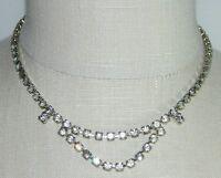 VTG Silver Tone Clear White Rhinestone Art Deco Bib Design Necklace Choker B