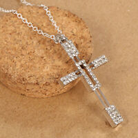 Sparkling Women Jewelry 925 Solid Silver Cross Pendant Chain Necklace 24 inches