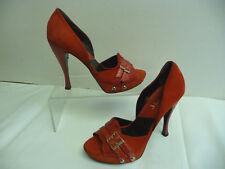 DIOR Red Platform Peeptoe Stilettos Size 39 / 9 Snakeskin Suede Italy Dbl Straps