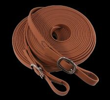 Single Mini Horse Light Brown Biothane Driving Lines 3/4 Inch Wide, 12 Feet Long