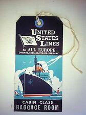 h/ Koffer Anhänger Schiff baggage label Ship United States LINES Orig. von 1930
