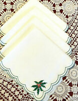 4 Large Christmas Dinner Napkins Embriodered Holly & Berries