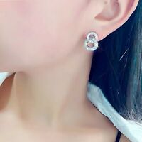 18k white gold made with SWAROVSKI crystal two circle 925 silver stud earrings