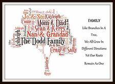Marco de impresión arte Palabra Familia árbol Mamá Papá Abuelo Regalo Personalizado chritsmas