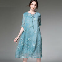 Womens casual loose fashion Silk chiffon embroidery dresses Elegant dress summer