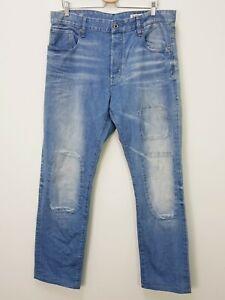 G-STAR RAW Mens Size 38 Blue 3301 Tapered Restored Denim Jeans