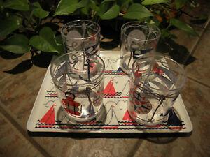 Vintage NAUTICAL tray MEBEL v3 Italian with 4 Glasses
