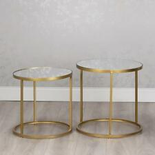 GOLD GLASS & METAL SET OF 2 ROUND NEST OF SIDE END LAMP COFFEE TABLES