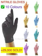 100 x Nitrile Disposable Gloves Powder Latex Free Mechanic Tattoo Black Valeting