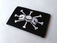 Chaos Skull Pirate Flag Morale Patch Black And White
