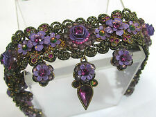 MICHAL NEGRIN NECKLACE purple CRYSTAL enamel CHOKER gold LACE Artisan SIGNED