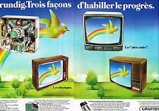 PUBLICITE ADVERTISING 084  1976  GRUNDIG  téléviseur télécommande sans fil ( 2 p