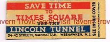 1930s Save Time To Times Square Lincoln Tunnel Matchcover