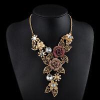 Luxury Crystal Rhinestone Flower Bib Chunky Statement Necklace Chain Jewelry NEW
