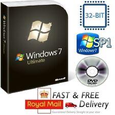 Windows 7 Ultimate 32-bit SP1 Full Version & License COA Product Key on DVD