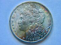 1884-O Morgan Silver Dollar Uncirculated Obverse Rainbow Toned   LQQK!!!