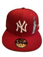 New Era New York Yankees Liberty & Big Apple 59FIFTY Hat MLB Red Size 7 1/8