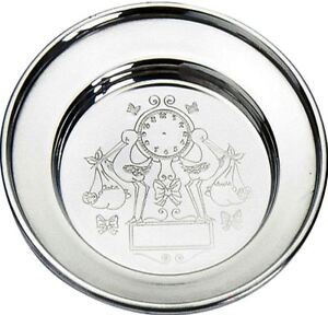 Christening Pewter Stork Plate Baby Name Weight Date Time Engravable