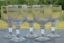 Portieux? Thouvenin? Lot de 5 verres à eau en verre gravé. XIXe s.