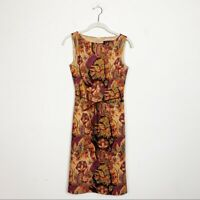 David Meister Women's Sleeveless Paisley Print Dress Size 2 Belted Sheath Career
