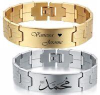 ID Edelstahl Armband + Gravur nach Wunsch auch als Partnerarmbänder Gold, Silber