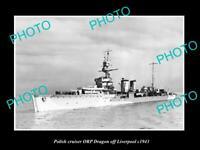 OLD POSTCARD SIZE PHOTO POLAND MILITARY POLISH NAVY SHIP ORP DRAGON c1943