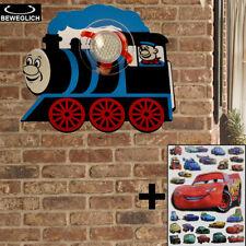 Kinder Wand Leuchte blau Lokomotiven Design Cars Sticker Spot Lampe verstellbar