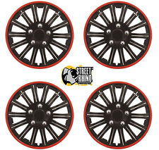 "Peugeot 107 14"" Lightning Matt Black & Red Universal Car Wheel Trim Covers"