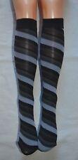 2 Pairs of Grey Black Stripe Knee High Socks Stripey