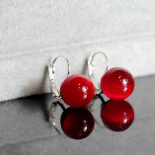 Boucles d`Oreilles Dormeuse Argenté Verre Perle Rouge Class DD 5