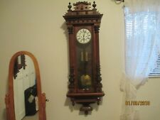 """ANTIQUE 1800s LARGE 51"""" LENZKIRCH VIENNA 2 WEIGHT WITH SECOND HAND WALL CLOCK"""