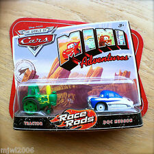 Disney PIXAR Cars MINI ADVENTURES Race Rods TRACTOR & DOC HUDSON rare vhtf 2pack