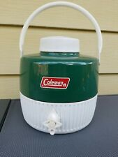 Vintage Coleman Green & White 1 Gallon Water Cooler Jug with Cup Wichita USA