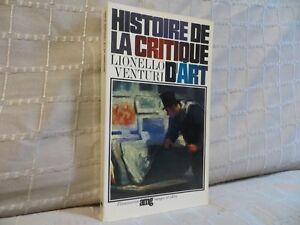 Histoire de la critique d'art par Lionello Venturi Flammarion