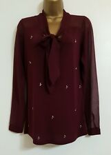 NEW Next Size8-16 Pussybow Chiffon Embellished Wine Red Long Sleeves Top Blouse