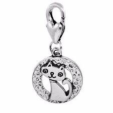 Cat Kitty Kitten Circle Hammered Metal Lobster Clip On Dangle Charm for Bracelet