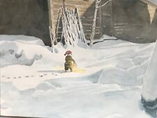Large Swedish Watercolor Painting Of Gnome/Nisse/tomte Signed Andersson