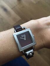 D&G Dolce & Gabbana Stainless Steel Ladies Women's Watch Burgundy Leather Strap