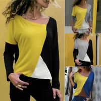 NEW Fashion Women Shirt Patchwork Color Block Long Sleeve T-Shirt Blouse Tops US