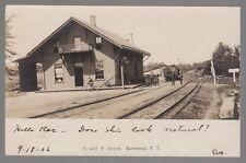 1906 Real Photo Postcard Ontario & Western Railway Depot in Kenwood, New York