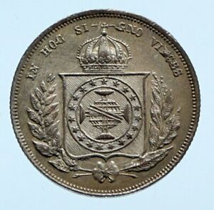 1862 BRAZIL w King Dom Pedro II Antique Brazilian Silver 200 Reis Coin i96464
