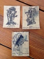 Vintage Antique WWII 1940s Lot 3 Newspaper Caricatures Cartoons Wacky Drawings