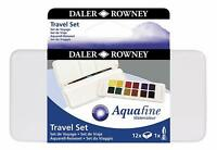 Daler Rowney Aquafine Watercolour Paint 12 Pan Travel Box Set