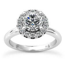 Halo Pave Solitaire 1.27 Carat Round Cut Diamond Engagement Ring White Gold