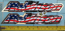 Set of 2 Authentic ROBINSON Bike Stickers/decals/bmx/RED WHITE BLUE CHROME
