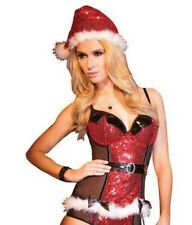 Coquette Ladies Sexy Red Sequin Santa Padded Bustier and Hat  - Medium #16R442