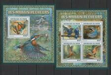 [NIG] NIGER 2016 BIRDS, KINGFISHER BIRDS. SET OF 2 SHEETS.