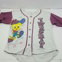 1994 Warner Bros Tweety Bird Gray Medium Baseball Button Front Shirt
